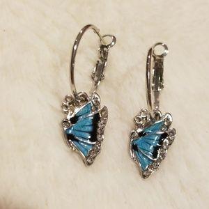 Silver Butterfly hoop charm earrings
